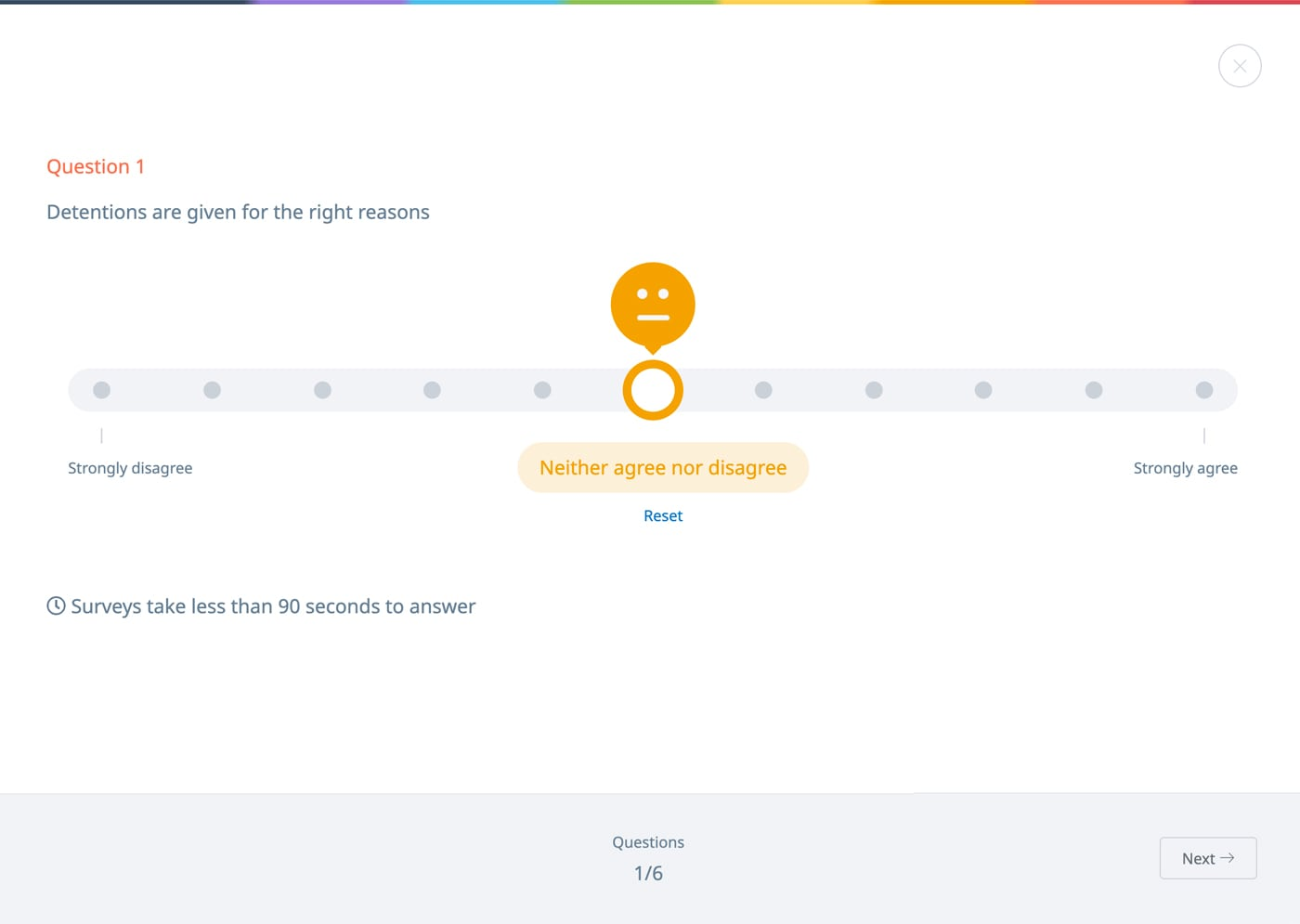 Screenshot of a Pulse climate survey
