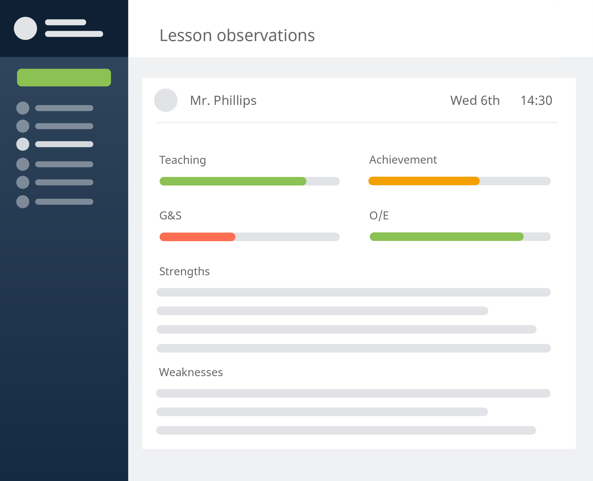 Give more effective feedback with simple to track lesson observations to make your self evaluation more streamlined.