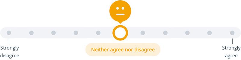 Survey slider - neither agree nor disagree, part of Satchel Pulse