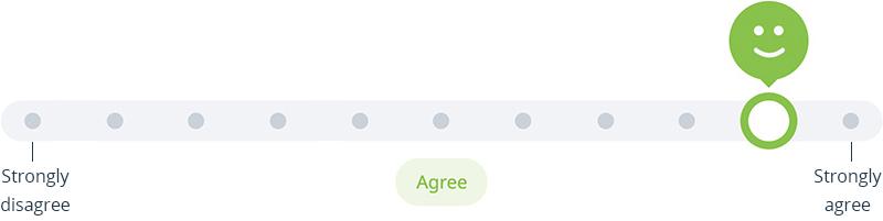 Survey slider - agree,  part of Satchel Pulse