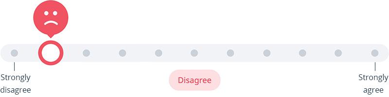 Survey slider - disagree, part of Satchel Pulse